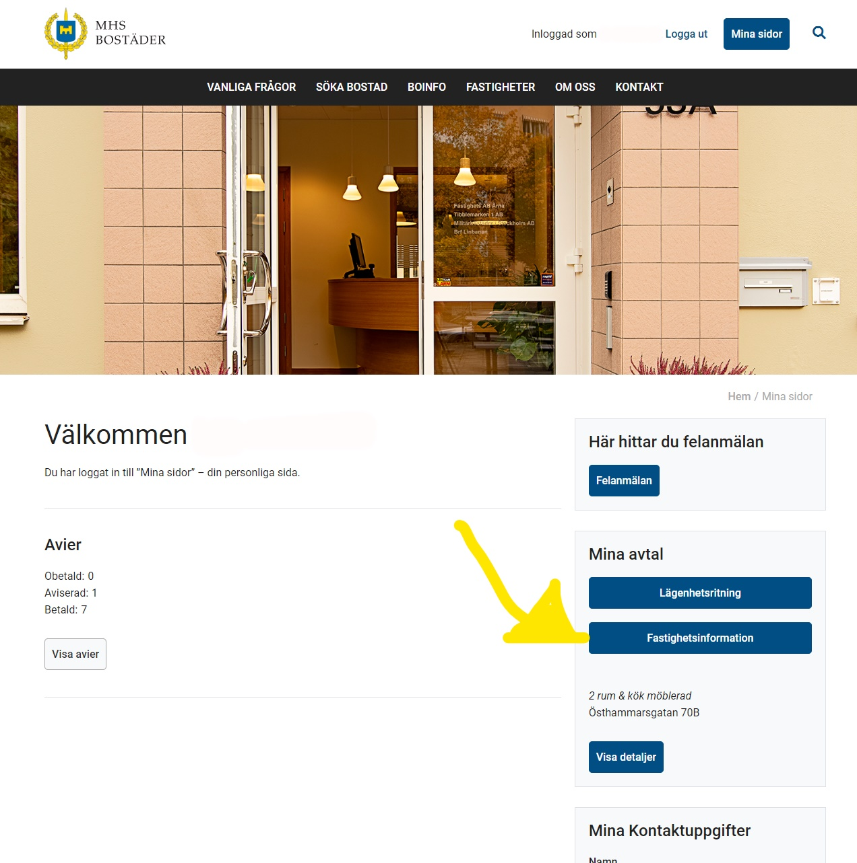 Bild med pil på fastighetsinfo-knappen